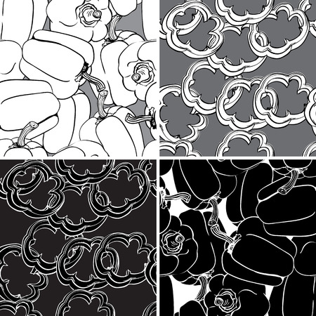 bell pepper: Black and white set seamless pattern with bell pepper. Can be used for wallpaper, pattern fills, web page, surface textures, textile print, wrapping paper. Illustration