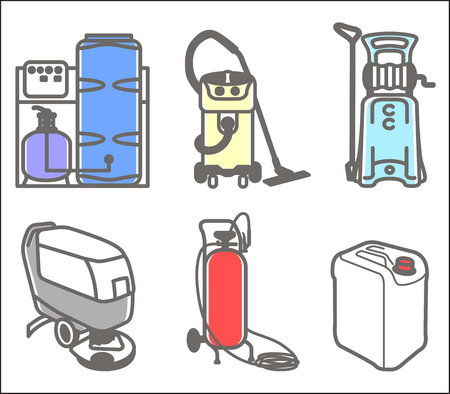 clean water: Colorful set outline icon of cleaning equipment