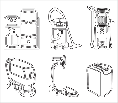 sewage treatment plant: Black and white set outline icon of cleaning equipment Illustration