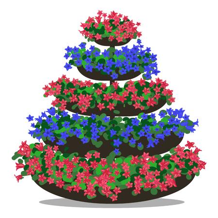 flowerbed: colorful illustration of floral arrangement. Flowerbed
