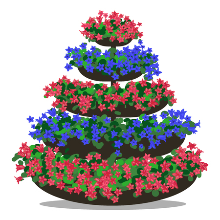 colorful illustration of floral arrangement. Flowerbed