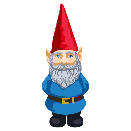colorful illustration of garden gnome isolated on white background.