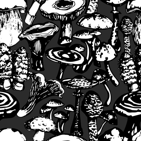 grebe: Vector black and white ink seamless pattern with artistically drawn mushrooms. Modern illustration. Can be used for wallpaper, pattern fills, web page, surface textures, textile print, wrapping paper.