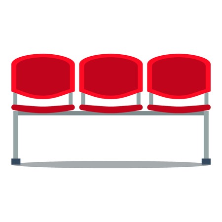 bleachers: Vector colorful illustration of red plastic stadium seat in flat style, isolated on white background Illustration