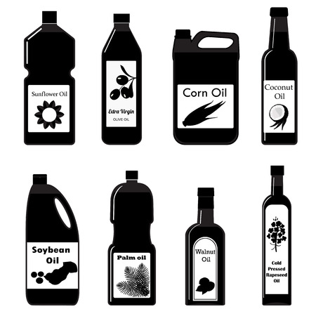 palm oil: Vector set of icon different types oil for cooking. Black and white illustration in modern style. Group bottles of oil for frying
