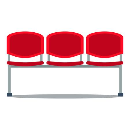 Vector colorful illustration of red plastic stadium seat in flat style, isolated on white background Ilustração