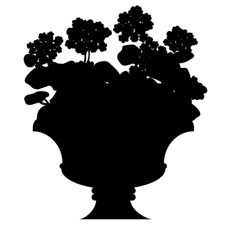 beautification: Vector black silhouette of blooming flowers in a vase, isolated on white background.