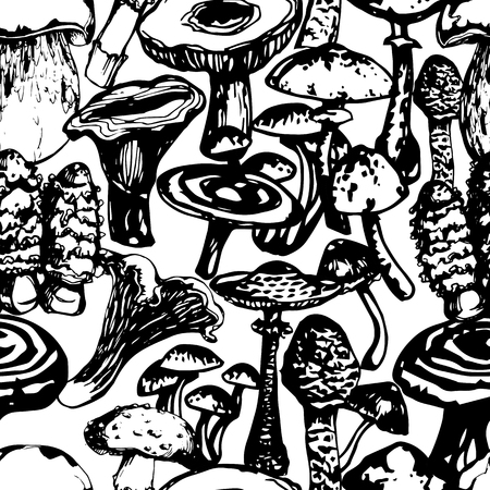 Vector black and white ink seamless pattern with artistically drawn mushrooms. Modern illustration. Can be used for wallpaper, pattern fills, web page, surface textures, textile print, wrapping paper.