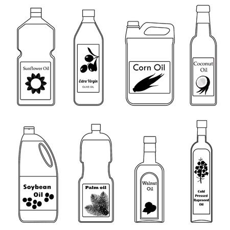 canola: Vector set of icon different types oil for cooking. Black and white outline drawing illustration in modern style. Group bottles of oil for frying