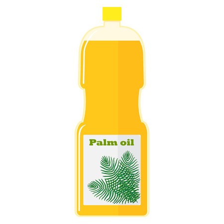 palm oil: Vector colorful illustration of a bottle with palm oil.