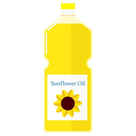 sunflower oil: Vector colorful illustration of a bottle with sunflower oil. Illustration