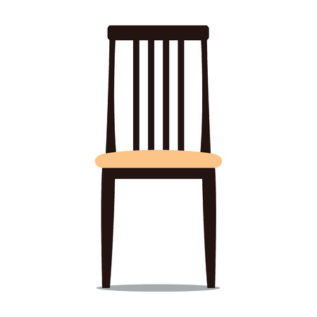 backrest: Vector colorful illustration of beige colored chair with backrest in flat style, isolated on white background, furniture for an interior, living room.