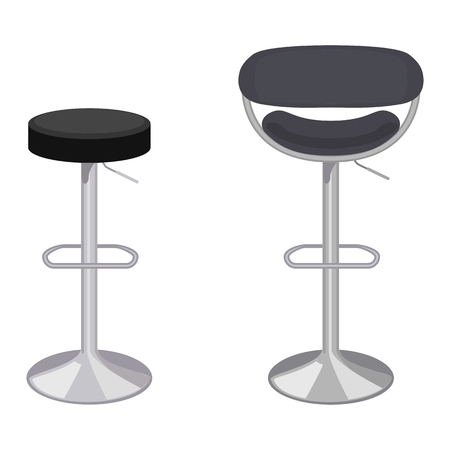 bar stool: Vector colorful illustration of bar stool in flat style, isolated on white background, furniture for an interior.