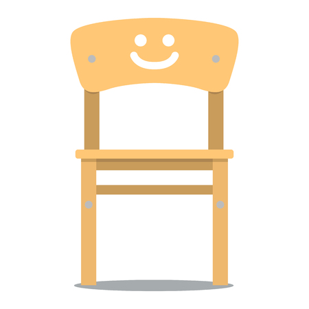 backrest: Vector colorful illustration of wooden children chair with backrest in flat style, isolated on white background, furniture for an interior, children room.