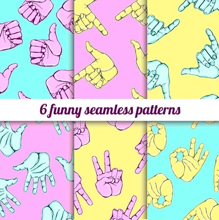 hi five: Vector colorful set with funny seamless background in modern style. Can be used for wallpaper, pattern fills, web page, surface textures, textile print, wrapping paper.