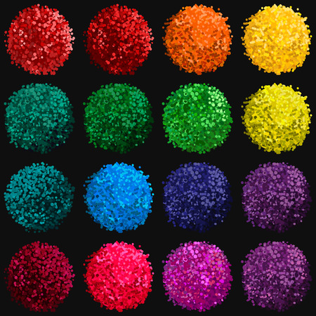 pompom: Vector colorful set with illustration of pompom isolated on black background for you design