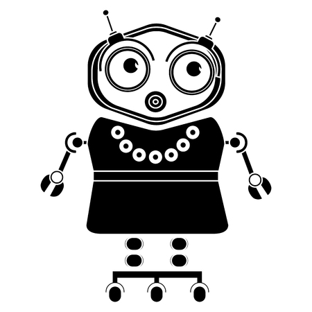sitter: Vector black and white illustration of cute vintage robot, Silhouette icon of toy.
