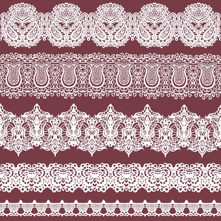 fishnet: colorful set of white lace ribbons isolated on a brown background. Seamless horizontal fishnet borders