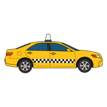 colorful modern illustration of yellow car taxi isolated on white background. Can be used for business, info graphic, banner, presentations