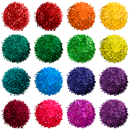 colorful set with illustration of pompom isolated on white background for you design Illustration
