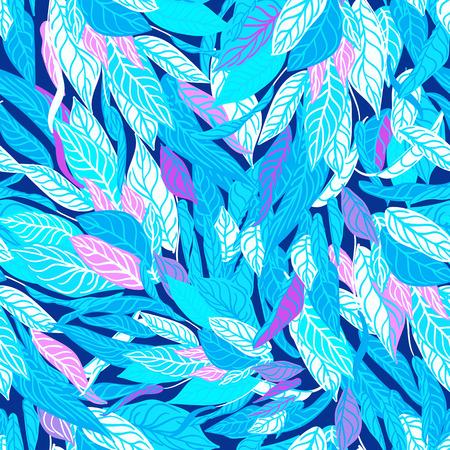 kleurrijke naadloze achtergrond met blauwe bladeren. Moderne illustratie. Kan gebruikt worden voor behang, patroonvullingen, webpagina, oppervlaktestructuren, textieldruk, inpakpapier.
