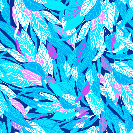 colorful seamless background with blue leaves. Modern illustration. Can be used for wallpaper, pattern fills, web page, surface textures, textile print, wrapping paper. Illustration