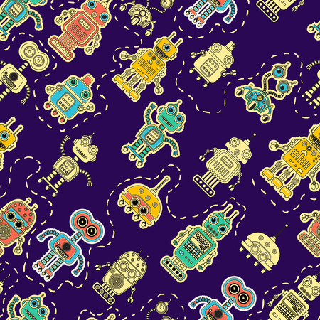 amazing wallpaper: Colorful cartoon retro robots background. seamless pattern. Amazing artistic wallpaper. Illustration