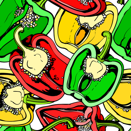 repeated: Vector seamless background with colorful sweet pepper on white background. Modern illustration. Can be used for wallpaper, pattern fills, web page, surface textures, textile print, wrapping paper.