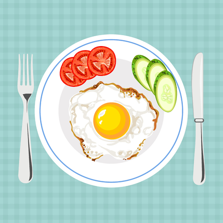 Vector colorful illustration of tasty breakfast with egg Illustration