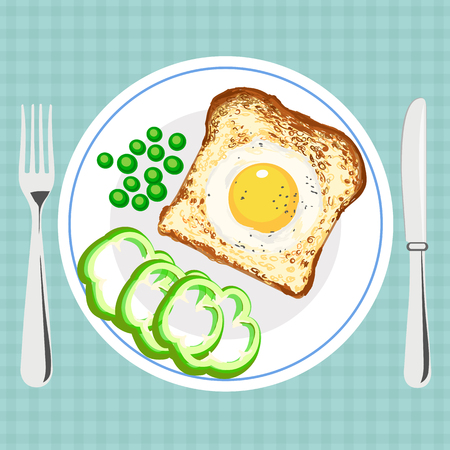 Vector colorful illustration of tasty breakfast with egg in bread Illustration