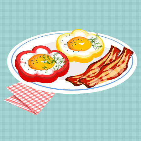 Vector colorful illustration of tasty breakfast with egg in bell pepper