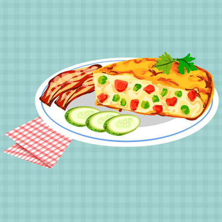 Vector colorful illustration of tasty breakfast with omelet