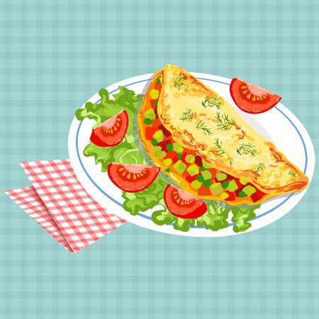 Vector kleurrijke illustratie van smakelijk ontbijt met omelet