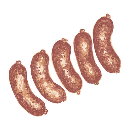 Colorful illustration of sausages