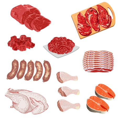 Illustrations of meat products
