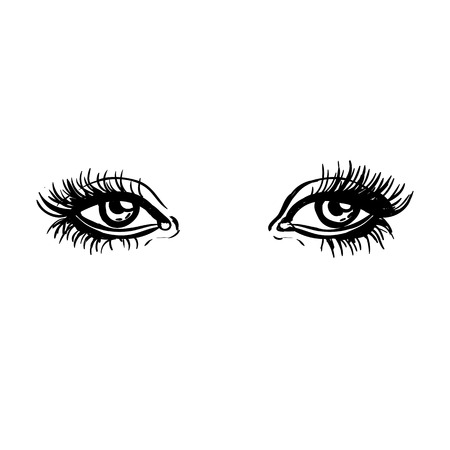 Black and white vector illustration of the woman eyes isolated on white background.