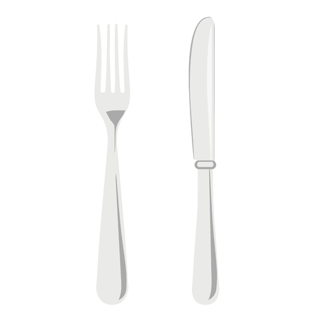 A Vector colorful illustration of a fork and knife isolated on white background.