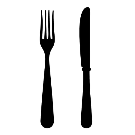 A Vector black silhouette of a fork and knife isolated on white background.