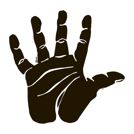 part of me: Vector black silhouette illustration of of a human hand body part isolated on white background. Can be used for web, poster, info graphic.