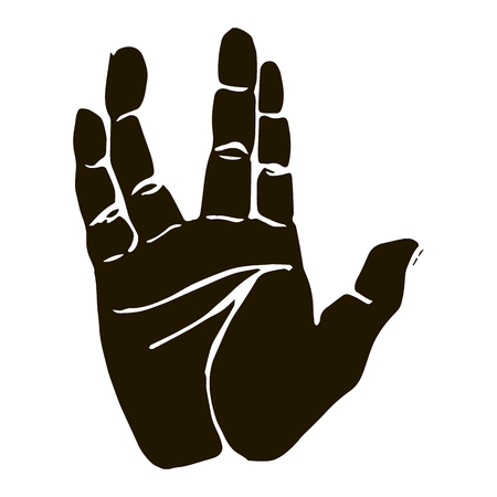 Vector black silhouette illustration of a human hand sign salute vulcan isolated on white background. Can be used for web, poster, info graphic.
