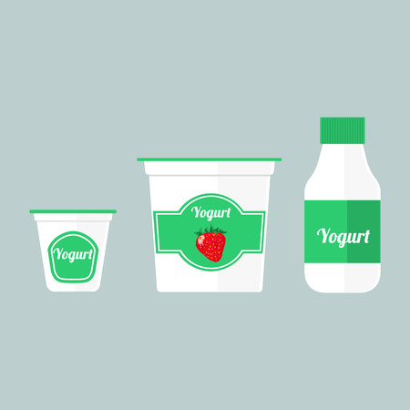 A Vector colorful set of illustrations with different types of packaging with yogurt isolated on blue background.