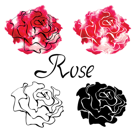 白い背景上に孤立したバラとベクトルカラフルなセット  イラスト・ベクター素材