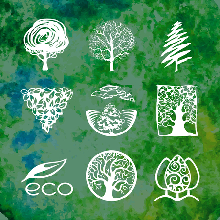 Various Tree sketches icon collection Illustration