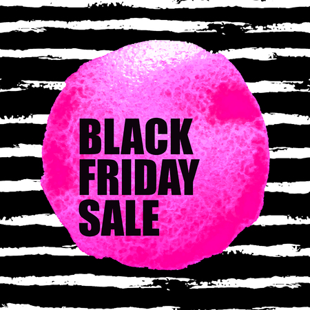 A Vector illustration of Black Friday Sale banner with pink watercolor spot on dark watercolor brush stroke background. Inscription design template.