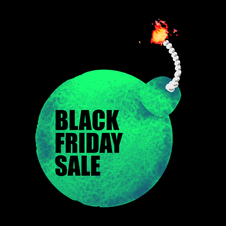 A Vector illustration of Black Friday Sale banner with watercolor green bomb on white background. Inscription design template.