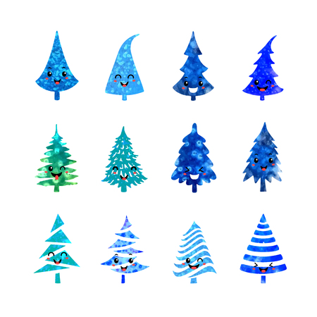 Vector colorful illustration set of a Christmas tree icons isolated on white background, with cute emotional faces. Can be used for greeting card, invitation, banner, web design. Illustration