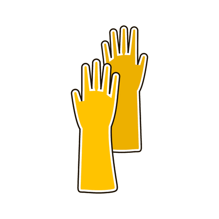 Vector colorful illustration of rubber glove for hygiene cleaning and wash work. Flat icon.