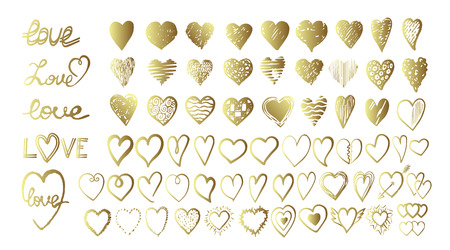 Vector gold hand drawn set with hearts. Design elements for Valentine day.