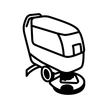 Black outline illustration of compact automatic floor scrubber. Illustration