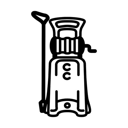 Black outline illustration of high pressure washer. Иллюстрация